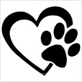 Heart With Dog Paw Puppy Love Vinyl Decal Car Sticker
