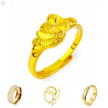 Hochwertiger Goldring ohne Steine, Gold Fashion Ring mit Charakter Muster Design