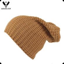 30%Wool 70%Acrylic Men′s Knitted Long Beanie Hat