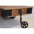 Industrial Vintage Cart Coffee Table. Cast Iron attachment Rough Mango Wood Surface