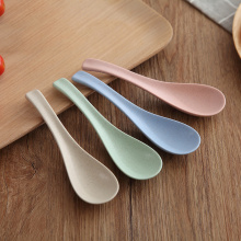Berwarna-warni Biodegradable Reusable Wheat Round Plastic Spoon