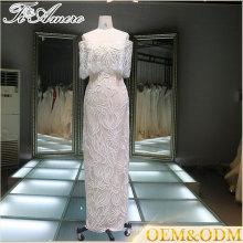 Vestidos de noche del diseñador modelos calientes de la venta del vestido largo del desgaste del partido de tarde de las señoras del vestido de noche del cordón
