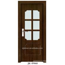 Intérieur mdf porte en verre pvc en bois