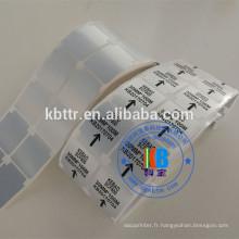 Autocollants en polyester adhésifs pour étiquettes en polyester argent synthétique pour imprimante à codes-barres
