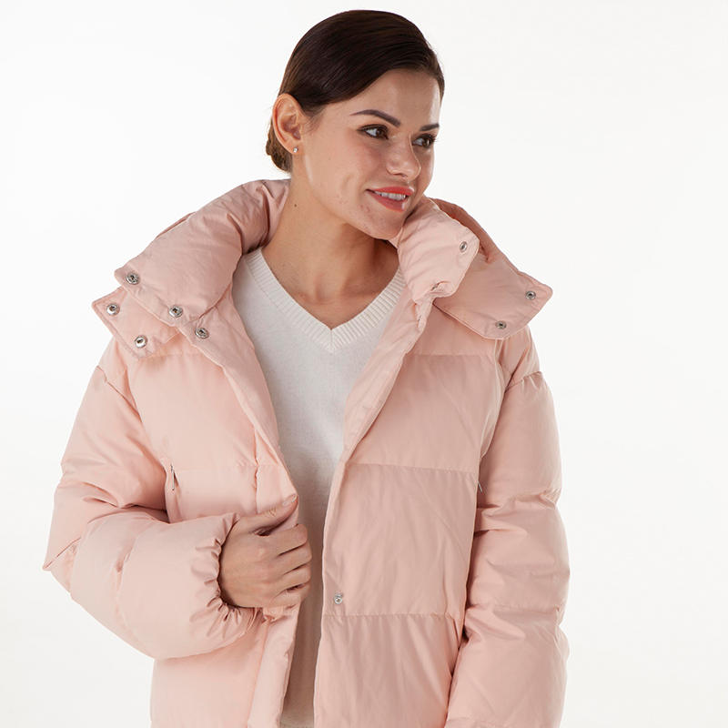Pink zipper style down jacket