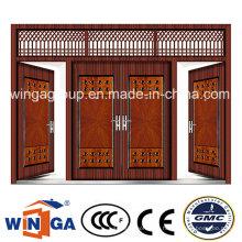 4 Doorleaf Big Size Außen Metall Sicherheit Stahl Tür (W-SD-05)