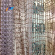 Tissu de rideau de fenêtre en voile transparent brodé fantaisie