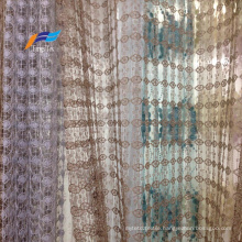 Fancy Embroideted Sheer Voile Window Curtain Fabric