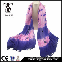 2015 beatiful women purple scarf with tassel scarf supplier