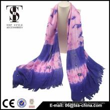 2015 bufanda púrpura hermosa de las mujeres con el surtidor de la bufanda de la borla