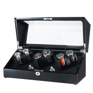 Ebony Black Watch Winder für 6 Uhren