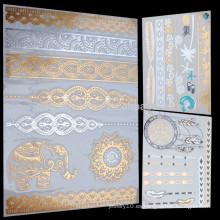 Arte del cuerpo del brillo etiqueta engomada del tatuaje para las mujeres tatuaje pluma gargantilla pulsera de oro de plata metálicos tatuajes temporales YS016