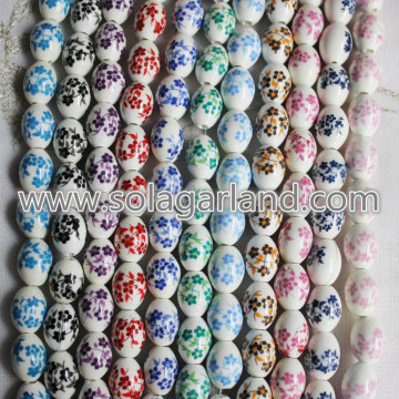 12*16MM Oval Blossom Flower Patterns Ceramic Charms Beads