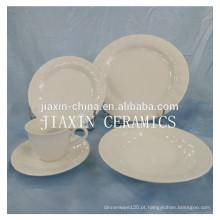 20 peças de porcelana branca em relevo conjunto de jantar de porcelana