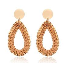 2021 New Trends Wooden handmade rattan drop-shaped drop earrings