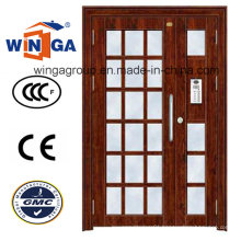 Project Building Good Quality Entrance Electric Steel Glass Door (W-GD-09)