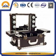 Fantástico estojo de maquiagem com luzes LED e espelho (HB-1016)