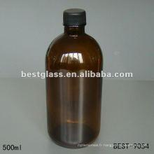 Flacon en verre ambré de 500 ml avec bouchon en plastique noir utilisant le marché médical