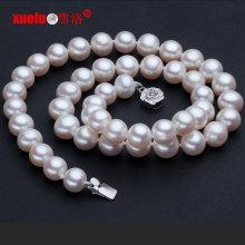 9-10mm runde echte Süßwasserperlen-Halsketten-Schmucksachen (E130015)
