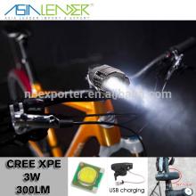 Productos de iluminación profesional 4 Light Level XPE 3W Cree luz de la bicicleta, bicicleta LED Light, USB Bicycle Light