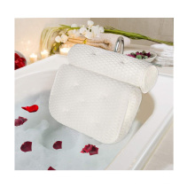 4D mesh spa bath tub pillow with 7 Extra Large Suction Cups - Non Slip, Machine Washable & Quick Dry Bath Pillows