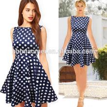 O OEM veste o vestido curto do às bolinhas das mulheres da luva O poliéster imprime o vestido das mulheres da forma