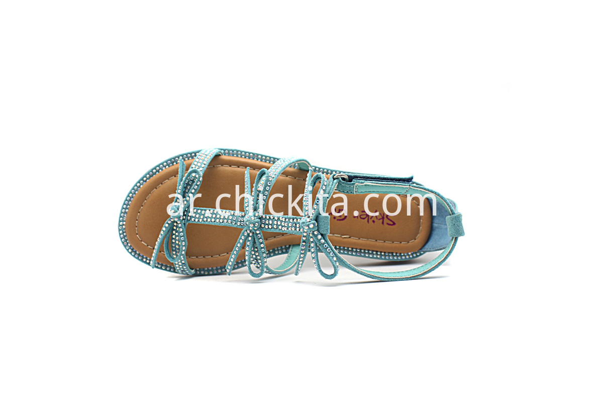 Children Flat Fashion Sandals With Bows and rhinestones
