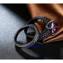 Anneaux de couleur plaqué noir CZ Jewelry Set (R0848)