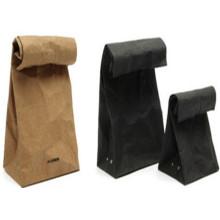 Bolsa de papel Kraft de fondo cuadrado con boca abierta
