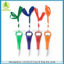 2 em 1 caneta de abridor de garrafa promocional multi-funcional com cordão