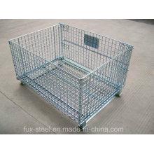 Jaula plegable de acero de la malla de alambre / cesta del almacenaje para el estante de la plataforma