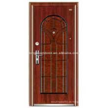 Porta blindada de madeira de aço personalizada com cor de grão de madeira bonita e design de painel especial Arched Top