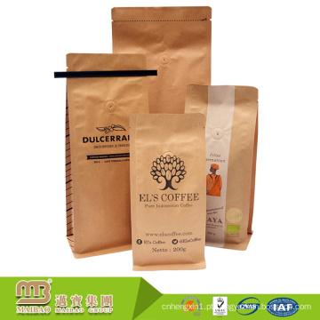 Sacos Resealable feitos sob encomenda do ofício de Brown do empacotamento de alimento do papel de embalagem da impressão de FDA com laços e válvula