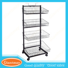 wire basket biscuits metal display stand with wheels