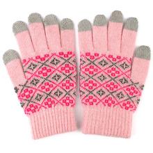 Tela de toque de lã moda senhora luvas mágicas quentes (yky5438)