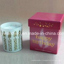 Bougie d'anniversaire parfumée personnalisée de luxe de soja