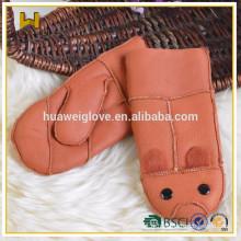 Mousses en cuir colorées pour enfants Mignon et épais Gants mitrés doublés en fourrure pour filles et garcons