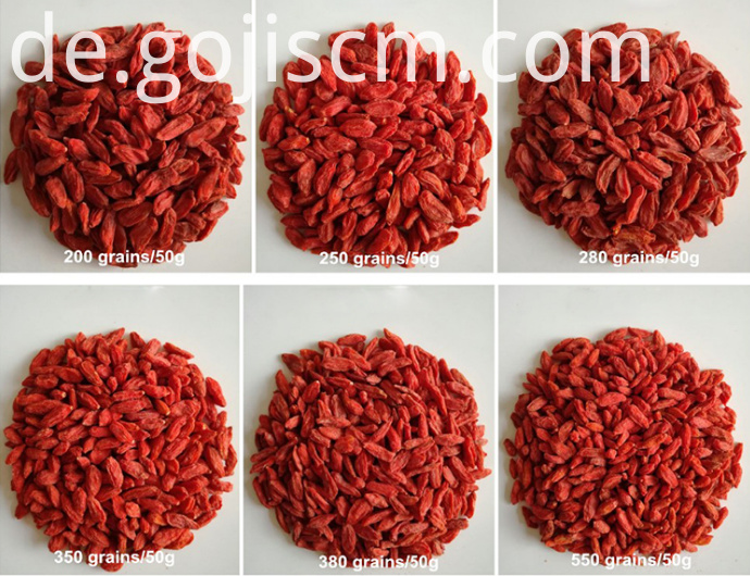 Dehydrated Goji sizes