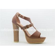 Good Quality Comfort Square Heel PU Ladies Sandal