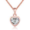 Estilo occidental de moda K oro forma de corazón Zircon colgante de collar de oro de plata collar de joyería