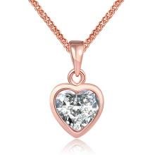 Style occidental K Collier pendentif Zircon en forme de coeur en or Collier en or rose Collier plaqué or Collier