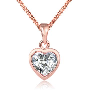 Western Style Fashion K Gold Herzform Zirkon Anhänger Halskette Rose Gold überzogene Halskette Schmuck