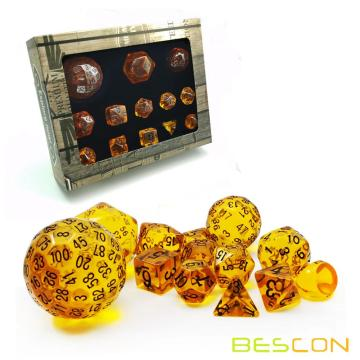 Bescon Amber Complete Polyhedral RPG Dice Set 13pcs D3-D100