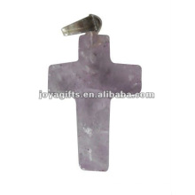 Pendentif en croix de pierres précieuses améthyste