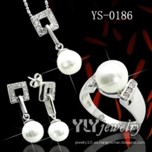 Joyas de plata de dama conjunto con perla (ys-0186)