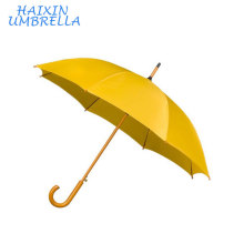 Promotional Logo Printed Fashion Straight Wooden Handle Long Shaft Yellow Umbrella Wholesale Manufacturer In China