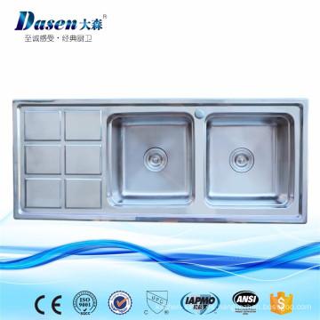 DS12050 lavadero doble cocina fregadero de acero inoxidable con placa de lavado