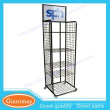 Free standing 4 tiers metal wire shelfing tool storage display rack with wheels