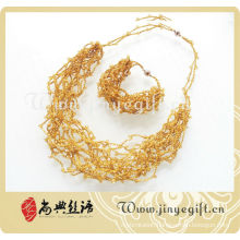Fashion Handmade Shining Color Crochet Jewelry Braided Necklace
