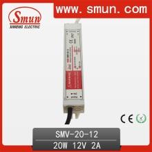 Fuente de alimentación impermeable de 20W 12V LED para la tira al aire libre del LED